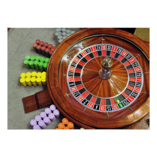 casino roulette wheel ball number zero gambling poster