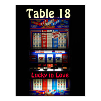 Casino Slot Machine Table Number -  Lucky in Love Postcard