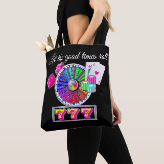 Casino Slot Wheel Cards Dice And Sevens Neon Color Tote Bag