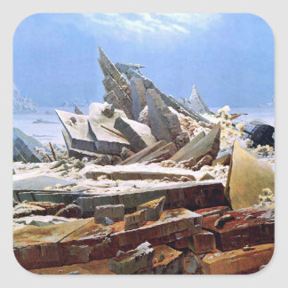 CASPAR DAVID FRIEDRICH - The sea of ice 1824 Square Sticker