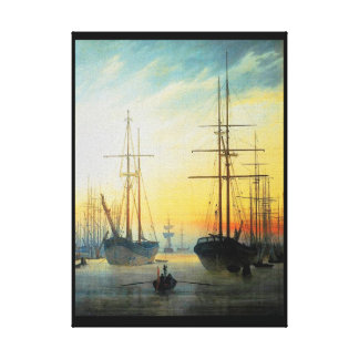 Caspar David Friedrich View of a Harbour Canvas Print