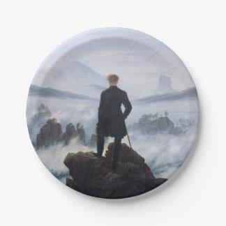 CASPAR DAVID FRIEDRICH - Wanderer above the sea Paper Plate