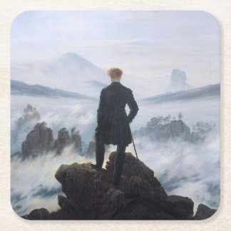 CASPAR DAVID FRIEDRICH - Wanderer above the sea Square Paper Coaster