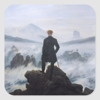 CASPAR DAVID FRIEDRICH - Wanderer above the sea Square Sticker