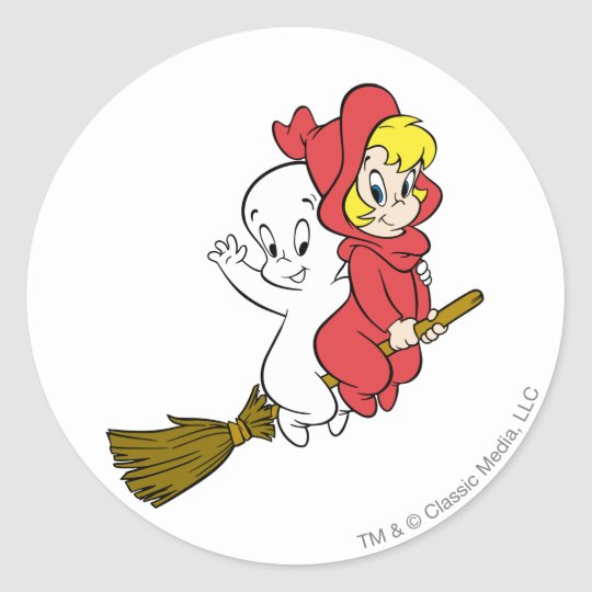 Casper and Wendy Riding Broom Classic Round Sticker