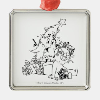 Casper Christmas Tree Silver-Colored Square Ornament