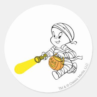 Casper in Mummy Costume Round Sticker