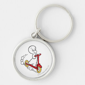 Casper Riding Scooter Silver-Colored Round Keychain