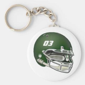 Casque de football vert porte-clef