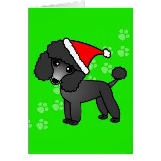 Casquette noir mignon de Père Noël de bande Carte De Vœux