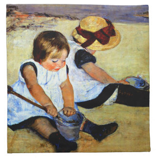 Cassatt - Children Playing on the Beach Napkin