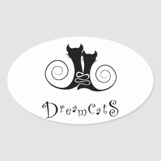 Casseminia - dreamcats with text oval sticker