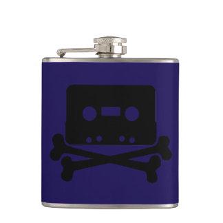 Cassette Dark Blue Vinyl Wrapped Flask