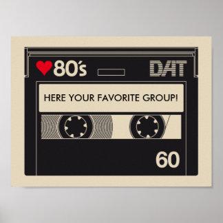 Cassette I Love 1980s Music Poster