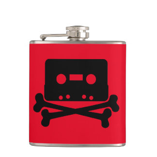 Cassette Red Vinyl Wrapped Flask