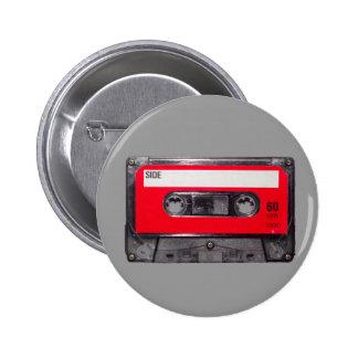 cassette rouge d'étiquette des années 80 macaron rond 5 cm