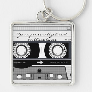 Cassette tape - black - key chains