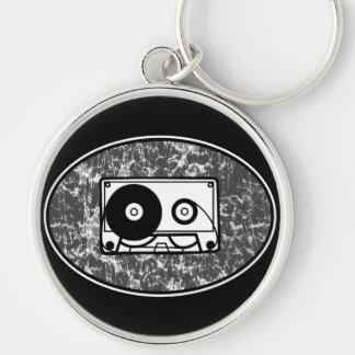 Cassette Tape Black & White Silver-Colored Round Keychain