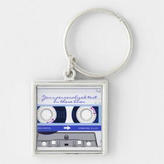Cassette tape - blue - keychain