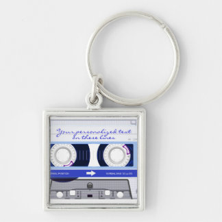 Cassette tape - blue - Silver-Colored square keychain
