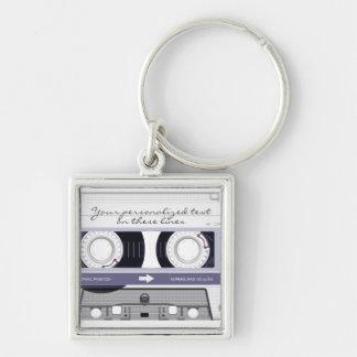 Cassette tape - grey - keychain