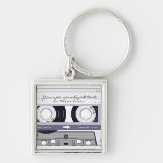 Cassette tape - grey - Silver-Colored square keychain