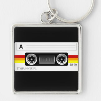 Cassette tape label keychain