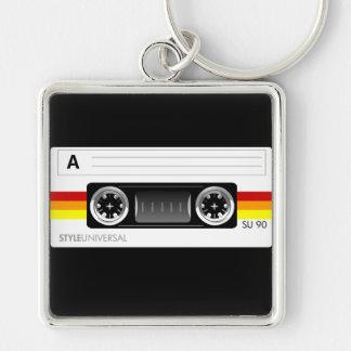 Cassette tape label keychain