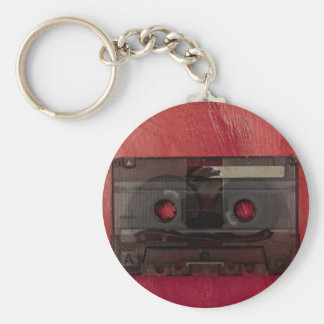 Cassette tape music vintage red basic round button keychain