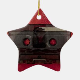 Cassette tape music vintage red ceramic ornament