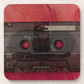 Cassette tape music vintage red coaster