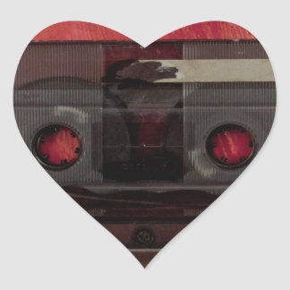Cassette tape music vintage red heart sticker