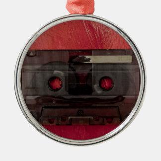 Cassette tape music vintage red metal ornament