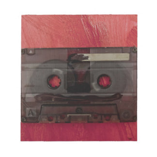 Cassette tape music vintage red notepad