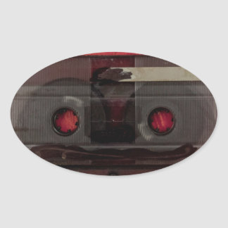 Cassette tape music vintage red oval sticker