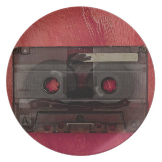 Cassette tape music vintage red party plates