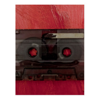 Cassette tape music vintage red postcard