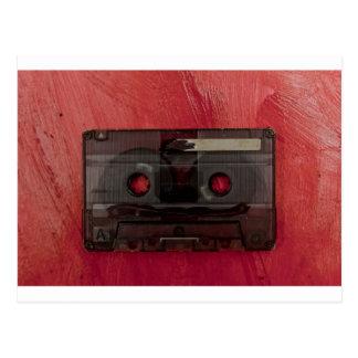 Cassette tape music vintage red postcard