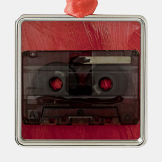 Cassette tape music vintage red Silver-Colored square ornament