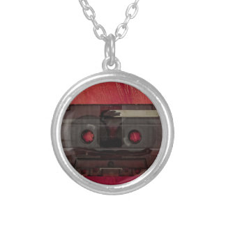 Cassette tape music vintage red silver plated necklace