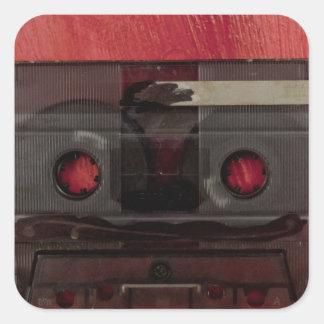Cassette tape music vintage red square sticker