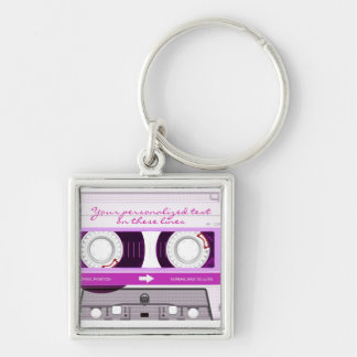 Cassette tape - pink - Silver-Colored square keychain