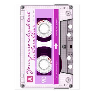 Cassette tape - pink - postcard
