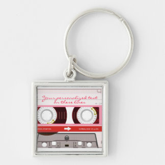 Cassette tape - red - Silver-Colored square keychain