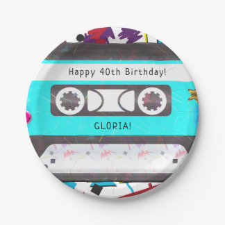Cassette Tape Retro 80's 90's Theme Birthday Party Paper Plate