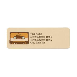 Cassette Tape Retro Style Monogram Return Address Return Address Label