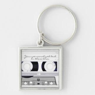 Cassette tape - white - key chain