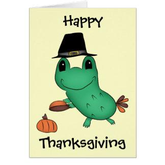 Cassie's Thanksgiving pilgrim frog Card