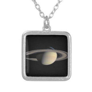 Cassini Photo of Saturn in October, 2004 Silver Plated Necklace