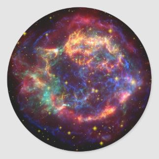 Cassiopeia Galaxy Supernova remnant Classic Round Sticker